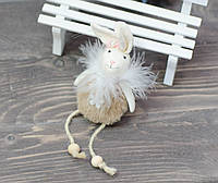 Текстильний кролик з висячими ніжками - коричневий, фото 1