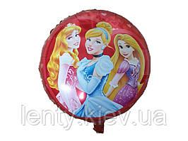 """Фольгований повітряна кулька круглий """"Принцеси"""". 45см (червоний фон)"""