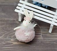 Текстильный кролик-шарик - розовый, фото 1