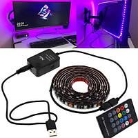 LED RGB 2м лента подсветки ТВ с пультом д/у, USB, датчиком звука