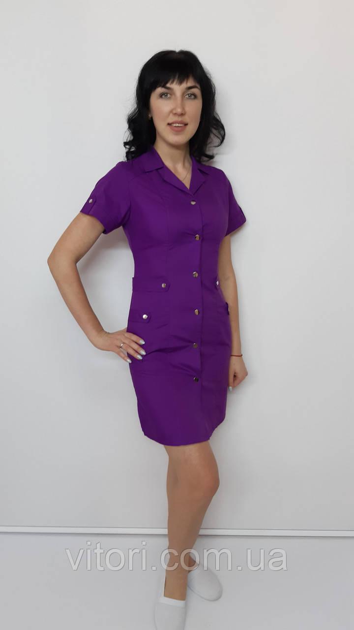 Медичний жіночий халат Хлястик бавовна короткий рукав