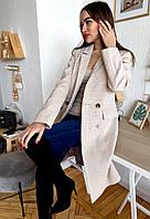 Пальто женское в клетку бежевое Д299