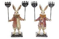 Декоративная фигура с подсвечником на 2 свечи Белый Кролик 37см, 2 вида BonaDi 419-120