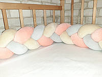 Бортик косичка из велюра в детскую кроватку