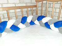 Бортик косичка в детскую кроватку из велюра