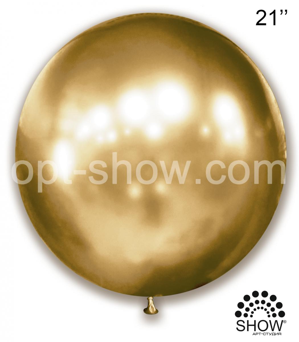"Шар гигант Золото Хром 21"" (52,5 см) Арт Шоу"