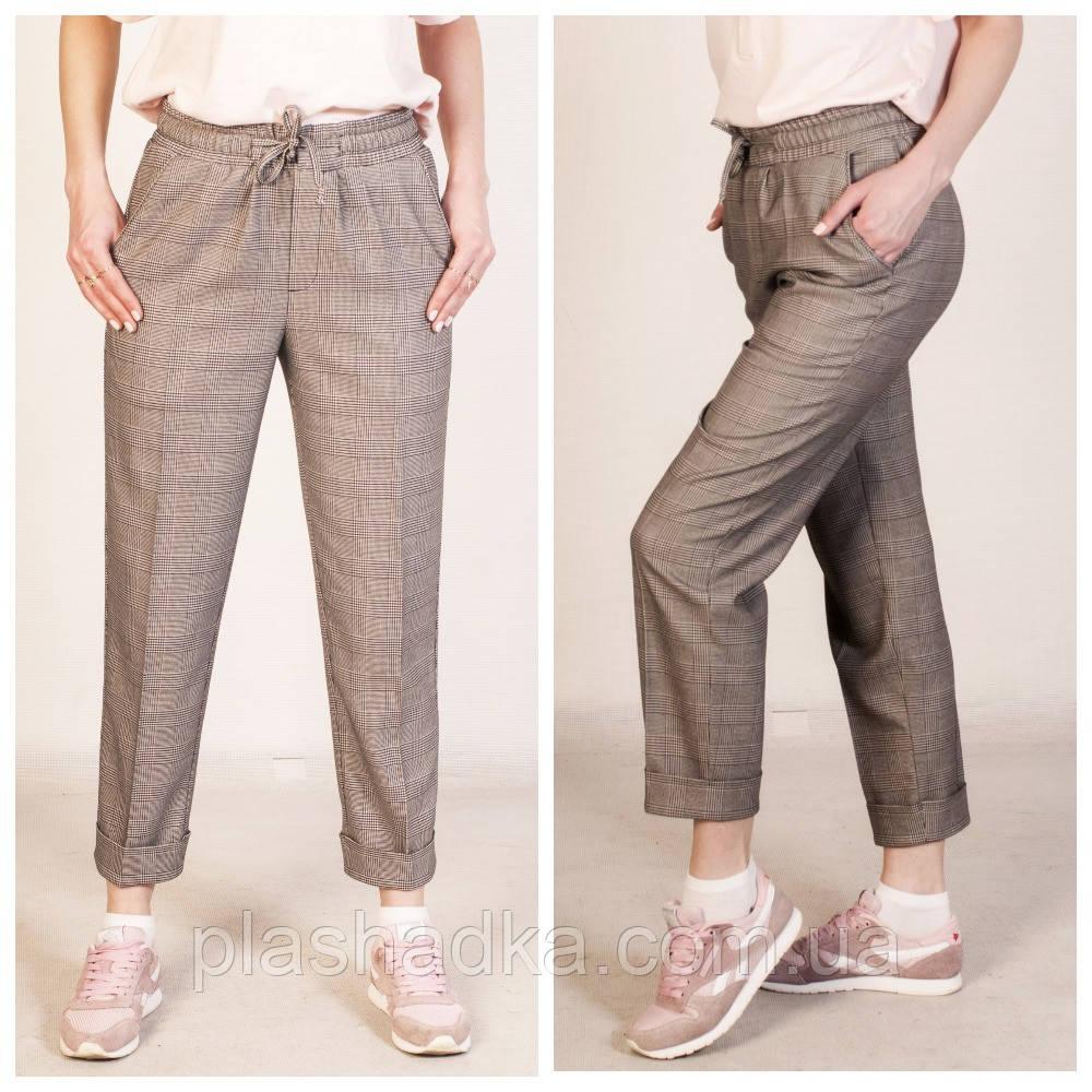Стильные женские брюки в клетку на резинке, классические, производство Турция