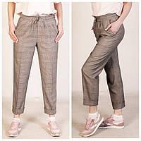 Стильные женские брюки в клетку на резинке, классические, производство Турция, фото 1