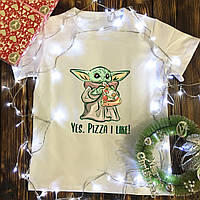 Мужская футболка с принтом - Йода с пиццей