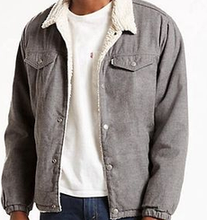 Зимняя микровельветовая куртка Levis Trucker Sherpa - Light Grey Micro Corduroy