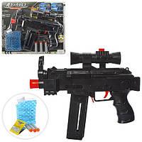 Автомат AK46-2 (60шт) 27,5см, водяные пули, мягк.пули-присоски 3шт, на листе, 35,5-31-4см Н