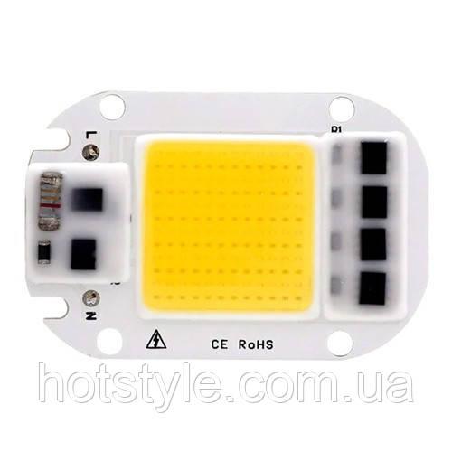 Светодиодная матрица с драйвером COB LED 50Вт 4500лм 220В, тепл. белая, 103683