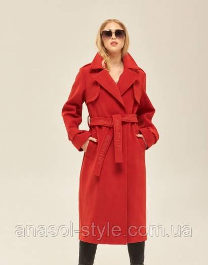 Пальто-тренч демисезон из кашемира однобортное  красное