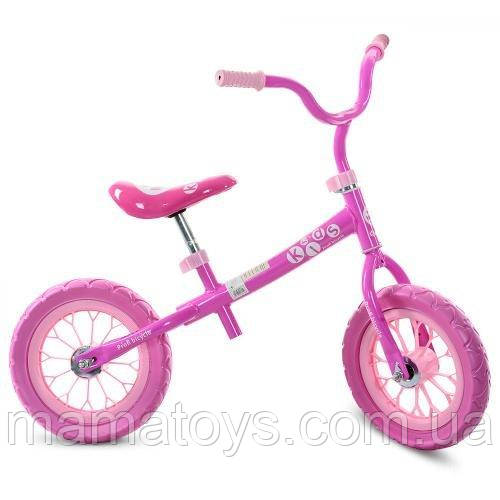 Детский беговел Profi М 3255-1 Розовый Велобег стальная рама, колесо 12 дюймов EVA (ПЕНА) Розовый - Красный