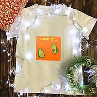Мужская футболка с принтом - Пара Авокадо Love is…