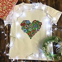 Мужская футболка с принтом - Цветочное Сердце