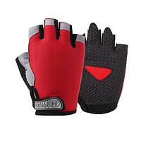 Велосипедні рукавички без пальців Huwai червоні, фото 1