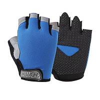 Велосипедные перчатки без пальцев Huwai синие, фото 1