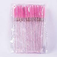 Щеточка для ресниц и бровей прозрачная ножка с блестками, цвет ворса Розовый, 50 шт в упаковке, фото 1