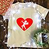 Мужская футболка с принтом - Купидон белый