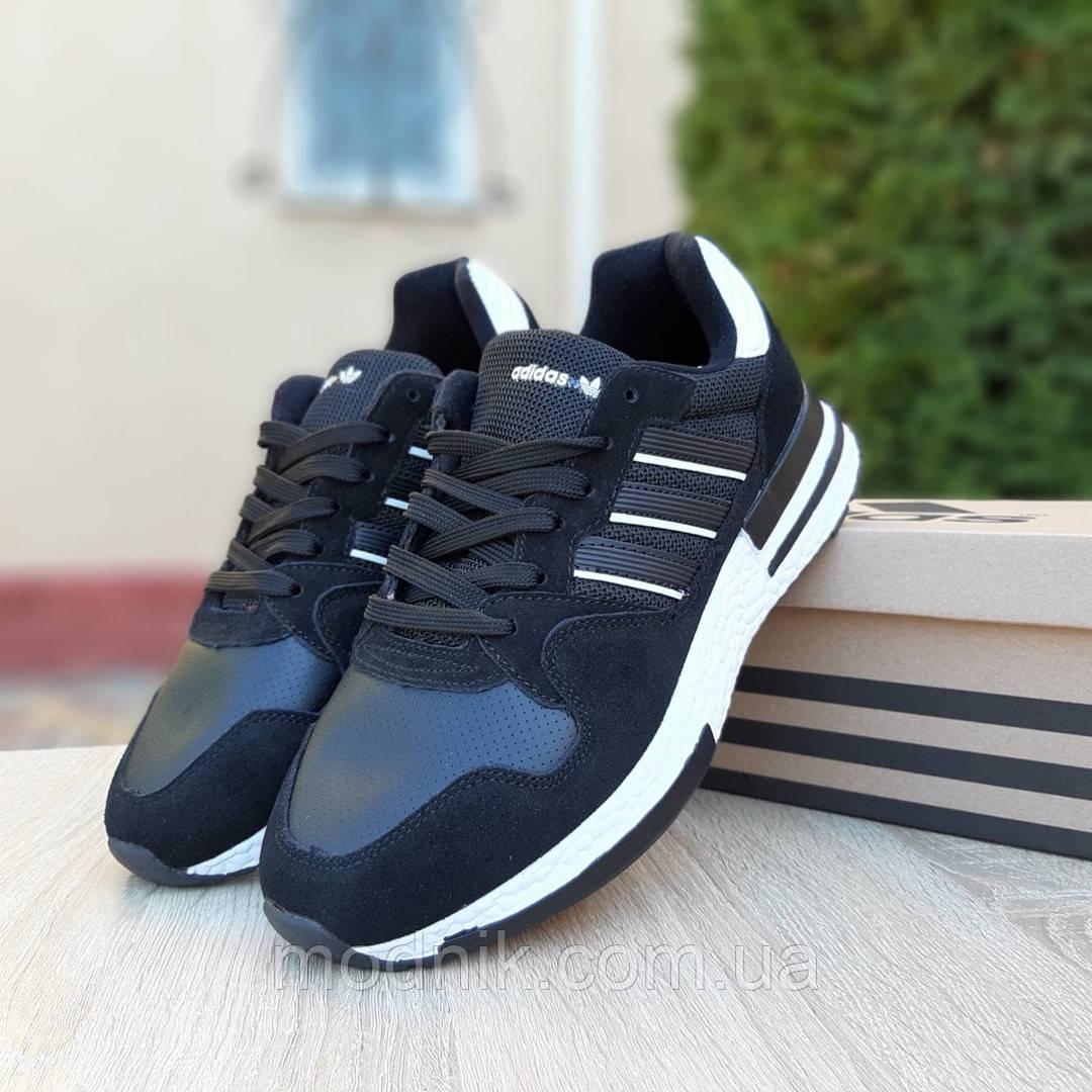 Мужские кроссовки Adidas ZX 500 RM (черно-белые)