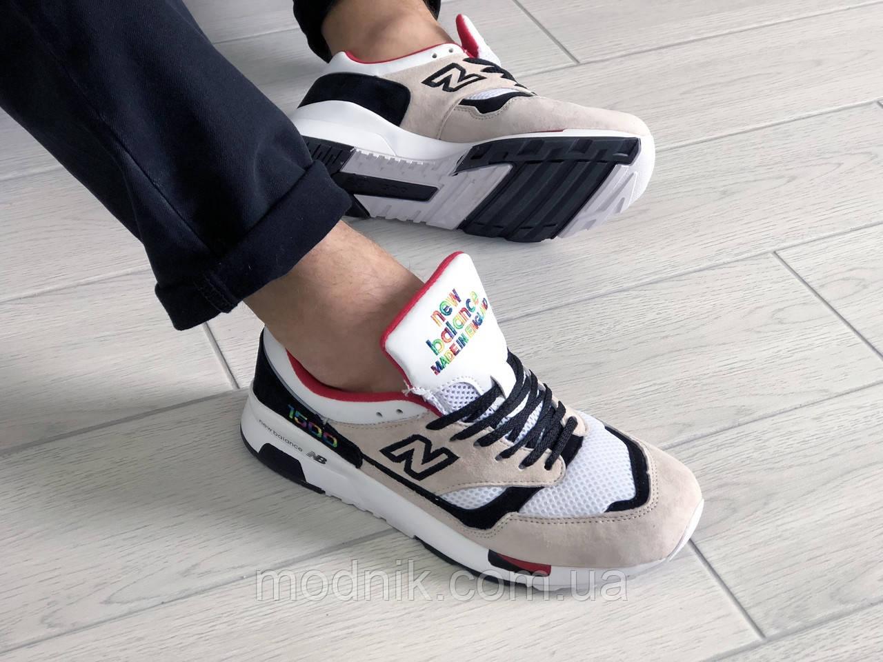 Мужские кроссовки New Balance 1500 ВЕЛИКОБРИТАНИЯ (бежево-белые с красным) 9110