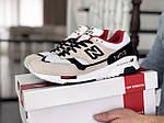 Мужские кроссовки New Balance 1500 ВЕЛИКОБРИТАНИЯ (бежево-белые с красным) 9110, фото 3