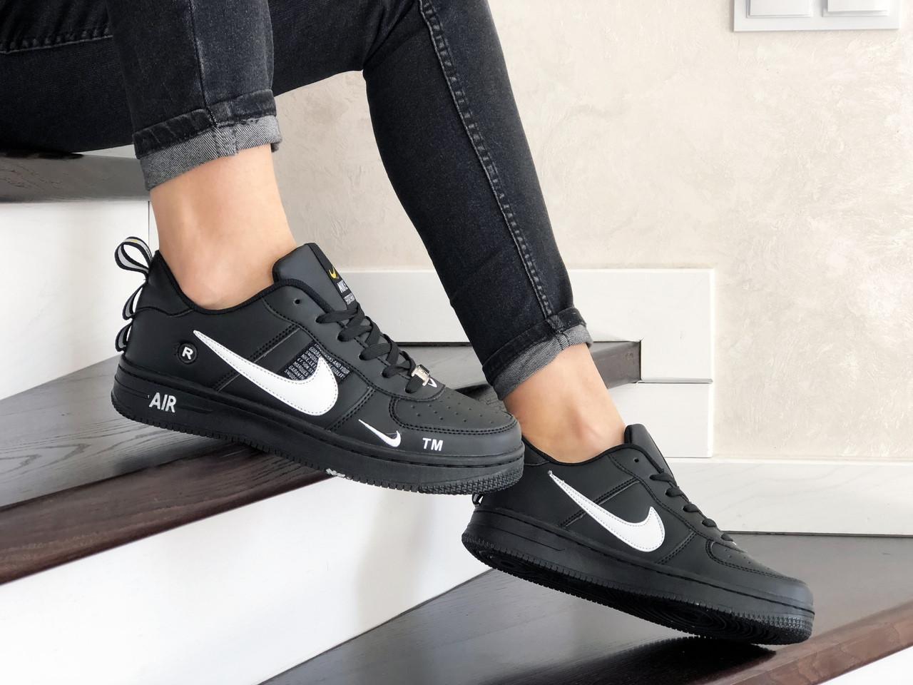 Женские кроссовки Nike Air Force (черно-белые) 9097