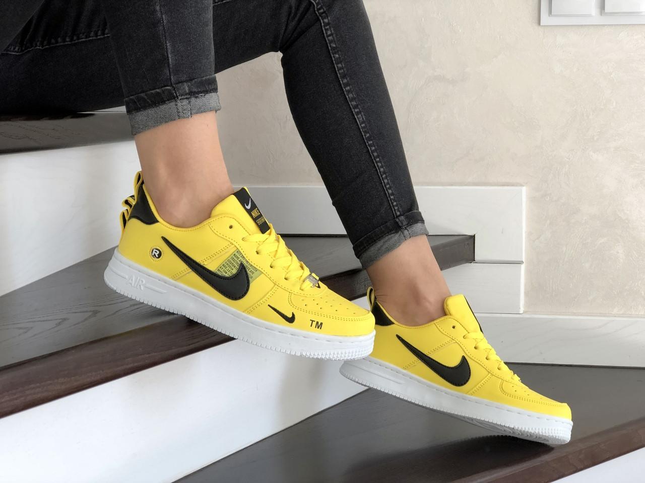 Женские кроссовки Nike Air Force (желтые) 9098