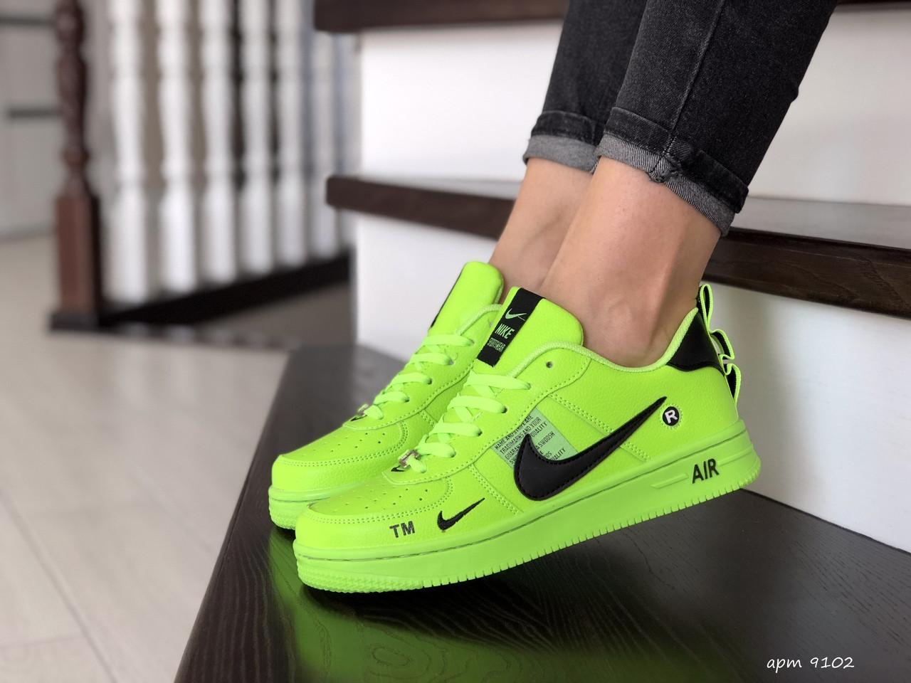 Женские кроссовки Nike Air Force (салатовые) 9102