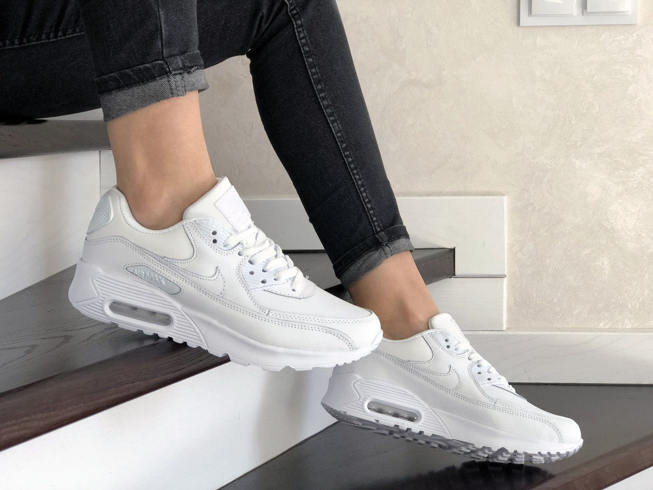 Жіночі кросівки Nike Air Max 90 (білі) 9104
