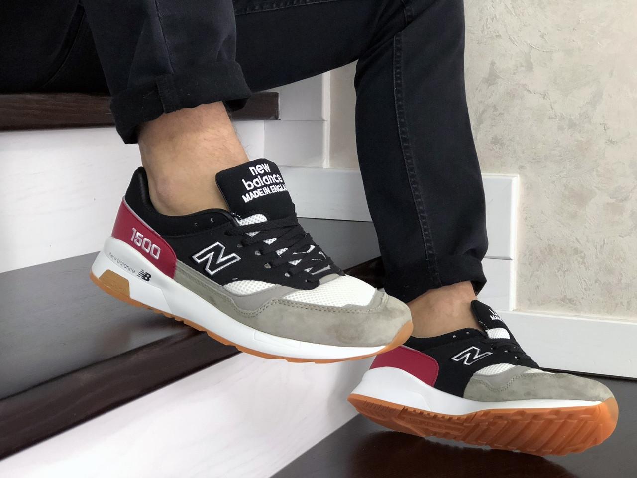Мужские кроссовки New Balance 1500 ВЕЛИКОБРИТАНИЯ (черно-серые с красным) 9107