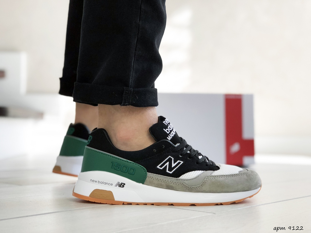 Чоловічі кросівки New Balance 1500 ВЕЛИКОБРИТАНІЯ (чорно-сірі з зеленим) 9122