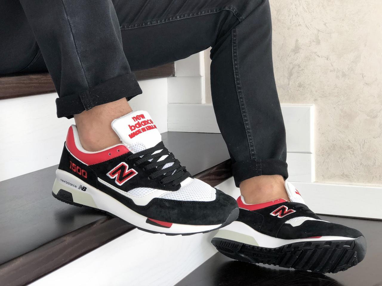 Мужские кроссовки New Balance 1500 ВЕЛИКОБРИТАНИЯ (черно-белые с красным) 9123
