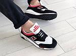 Мужские кроссовки New Balance 1500 ВЕЛИКОБРИТАНИЯ (черно-белые с красным) 9123, фото 4
