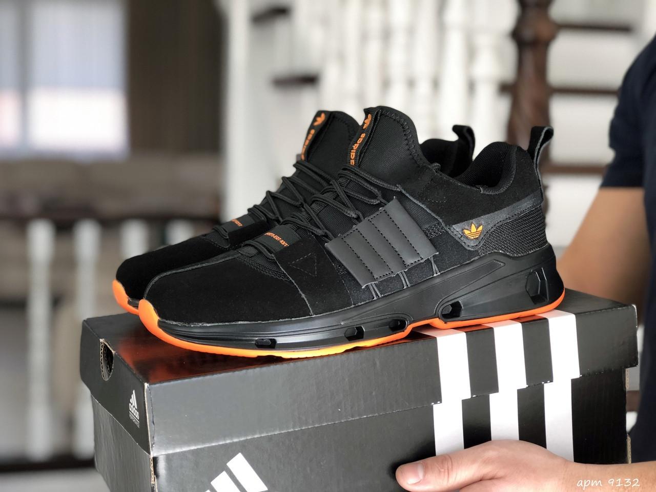 Чоловічі замшеві кросівки Adidas (чорно-помаранчеві) 9132