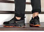 Чоловічі замшеві кросівки Adidas (чорно-помаранчеві) 9132, фото 4