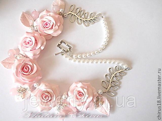 Свадебное розовое колье с розами из полимерной глины