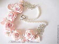 Свадебное розовое колье с розами из полимерной глины, фото 1