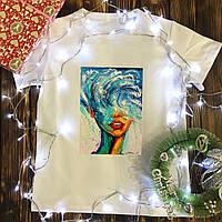 Мужская футболка с принтом - Девушка Волна
