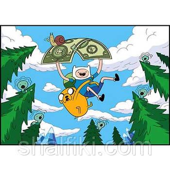 """""""Финн Человек и Джейк Пёс (Adventure time / Время приключений)"""" плакат А3 в ламинации"""