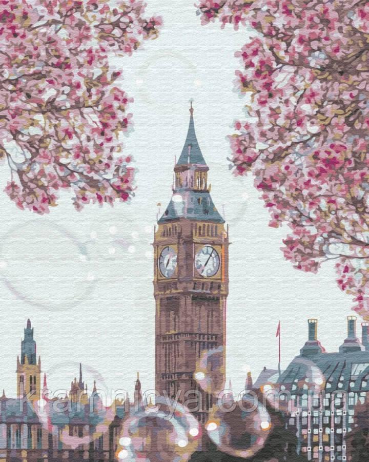 Картина за номерами Біг бен у квітах, 40х50 Brushme (GX34814)
