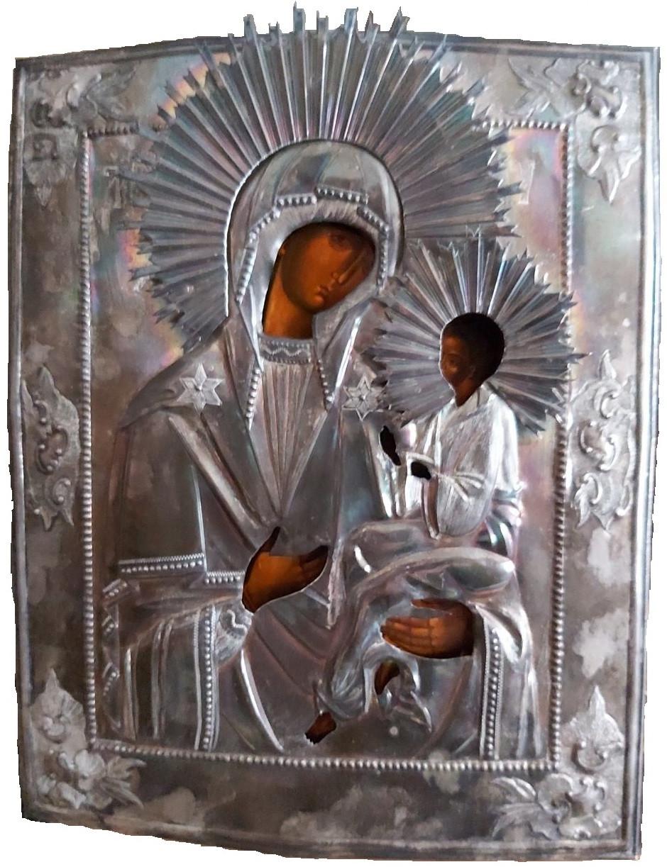 Икона Богородица с младенцем 19 век Серебро 84 пр.