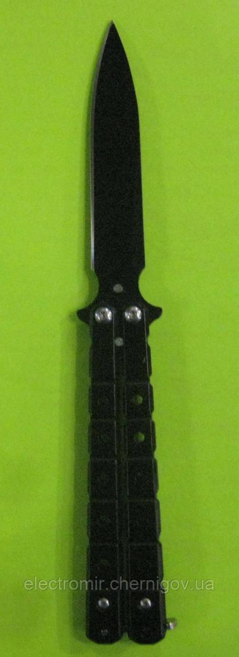 Нож-бабочка с клипсой А-756 (чёрный)