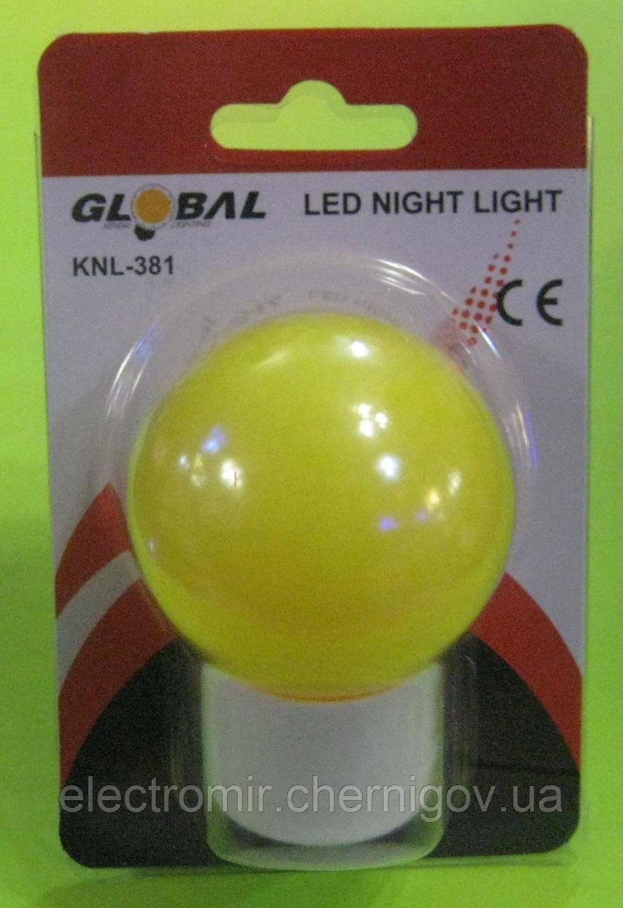 Ночник Global KNL-381 шарик (жёлтый)