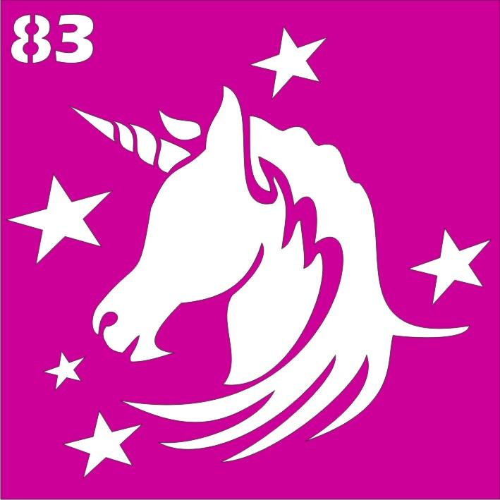 Единорог со звездами- трафарет для био тату