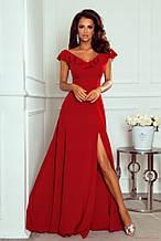 Платье женское вечернее длинное без рукавов с открытой спиной и воланом