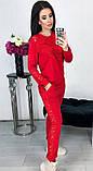 Костюм женский брючный спортивный с гипюром карманами и манжетами 42 44 46 48 50 Р, фото 2