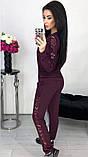 Костюм женский брючный спортивный с гипюром карманами и манжетами 42 44 46 48 50 Р, фото 6