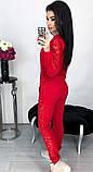 Костюм женский брючный спортивный с гипюром карманами и манжетами 42 44 46 48 50 Р, фото 7